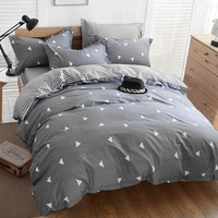 Bedding set 4pcs brieft geometric pattern 100%cotton duvet cover set bedclothes bed quilt comforters double linen set