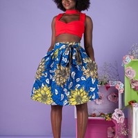 African Print Odo Midi Skirt - Grass-Fields