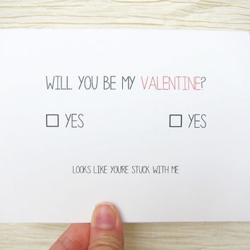 """Cute Valentine. Funny Valentines Day Card. """"Will you be my valentine?"""""""