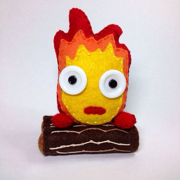 Handmade in felt Calcifer from Studio Ghibli