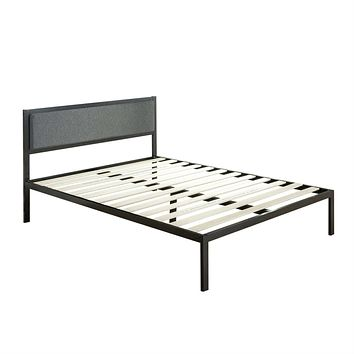 Full size Metal Platform Bed Frame with Wood Slats and Upholstered Headboard