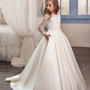 2017 Ivory Flower Girl Dresses For Weddings Long Sleeve Satin Beaded Appliques First Communion Dress Girls Pageant Gowns F132