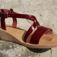 Greek sandals, Leather sandals  pumps!  Cork wedges sandals- red sandals sandales femmes , cuir
