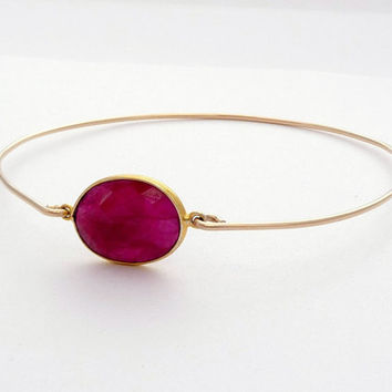 Ruby Gold Filled Bangle Bracelet - Stackable Wire Gemstone Bangle - 14K Gold Filled Bezel Set Ruby