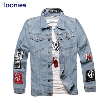 Men Clothes Jeans Bomber Jacket Male Hip-hop Style Denim Jacket Men Long Sleeve Jaqueta Masculina Plus Size Motorcycle Jacket