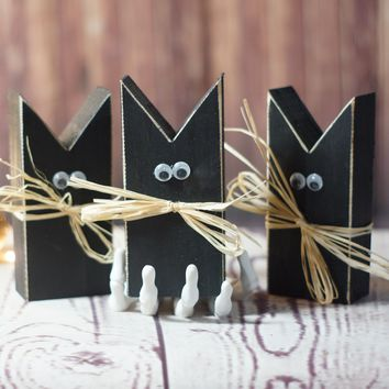 Mini Primitive Black Cat Halloween Decor - Halloween Decorations