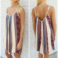 Beach Town Life Ethnic Print Swing Taupe Slip Dress