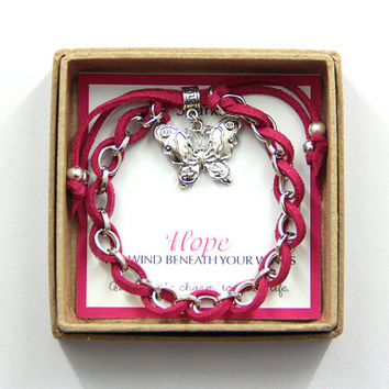 "Hope ""Butterfly"" Charm Bracelet in a Brown Craft Gift Box"