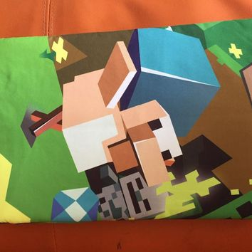 In stock sale !4 styles Eat Sleep Cartoon MineCraft bedding Duvet Cover+Pillow Cover Bedding  Mining Game Duvet Cover Set myword