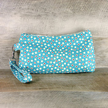 Coraline Scattered Confetti Squares on Turquoise Modern Art Deco Flapper Clutch Wristlet Handbag Purse