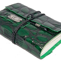 Embossed Green Leather Journal with Bookmark