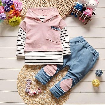 Toddler Kids Baby Boy Girls Outfits Hooded Stripe T-shirt Tops+Pants Clothes Set