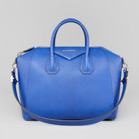 Givenchy Antigona Medium Sugar Goatskin Satchel Bag, Blue