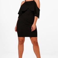 Plus Lizzie High Neck Frill Bodycon Dress | Boohoo
