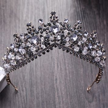 KMVEXO Vintage Baroque Black Crystal Queen King Crowns For Women New Wedding Bridal Tiaras Diadem Bride Hair Jewelry Accessories