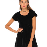 Motel Baby Doll Dress in Black Velvet