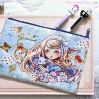 Alice in Wonderland - kawaii pencil case, cute cosmetic bag - PC1 from Chibi Bunny