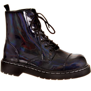 Oil Slick Black Patent Combat Boots