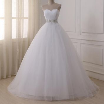 Wedding Dresses Sweetheart Sweep Train Lace Applique Corset Wedding Dress Gowns