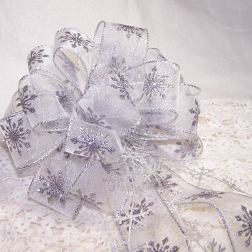 Large 7 inch Sparkle Snowflake Ribbon Bow Handmade Silver Christmas White Winter Wreath Pew Holiday Decor Glitter Gift Party