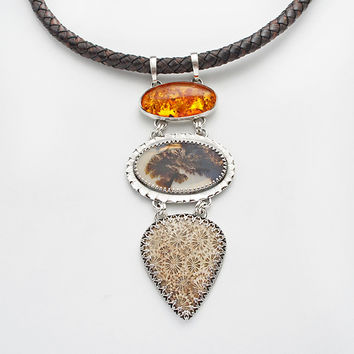 The Wind In The Trees | Silver Amber, Dendrite Quartz & Coral Fossil Necklace