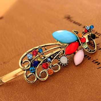 TS319 Women Hairpin Vintage Peacock Pattern Hair Clip Crystal Hair Barrettes Apparel Accessories Headpiece Fashion Jewelry