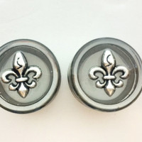 Fleur De Lis Plugs / 0g, 00g, 1/2, 5/8 inch / silver metal gauges / new orleans jewelry / saints earrings / screw on plugs / clear gauges