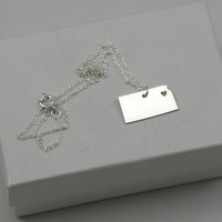 Sterling Silver State Love Heart Necklace - Kansas