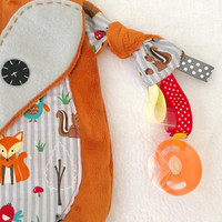 Fox Baby Blanket lovey Pacifier Keepsake Toy friend