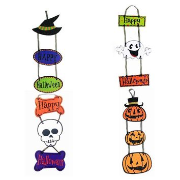 Wedding Decoration Halloween Decorative Props Halloween Pendants Plaques Pumpkin Ghost Bats Three Paper Pendants
