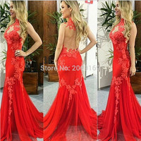 Elegant Sexy Sheer Long Prom Dresses Red Tulle Lace Appliqued Mermaid Prom Gowns Custom Made 2017 Halter Formal Women Gowns