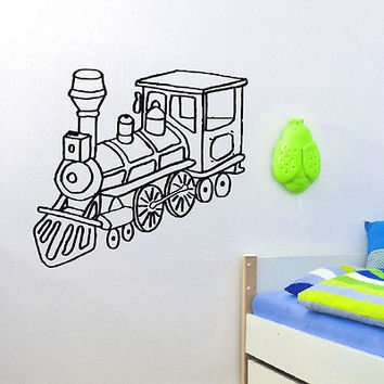 WALL DECAL VINYL STICKER CARTOON FUNNY TRAIN ROOM NURSERY DECOR SB265