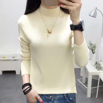 2018 Autumn Winter Women's Sweaters And Pullovers Korean Style Long Sleeve Crop Sweater Slim Solid Knitted Jumpers Sweter Mujer