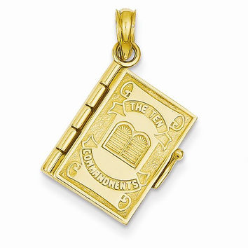 14k Yellow Gold Ten Commandments Bible Pendant