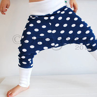 Stretchy baggy leggings toddler pants blue white spot funky harem trousers childrens unisex nautical polka dot spotty boys girls clothes