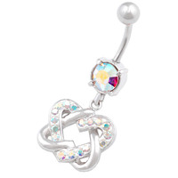 Sexy Heart Dangle Aurora Borealis Crystal Belly Button Ring For Girls [Gauge: 14G - 1.6mm / Length: 10mm] 316L Surgical Steel & Crystal