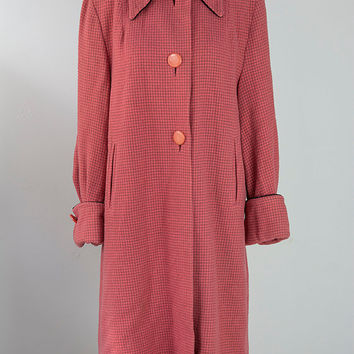 Vintage 60s 70s MOD Candy PINK Wool Princess Coat M L