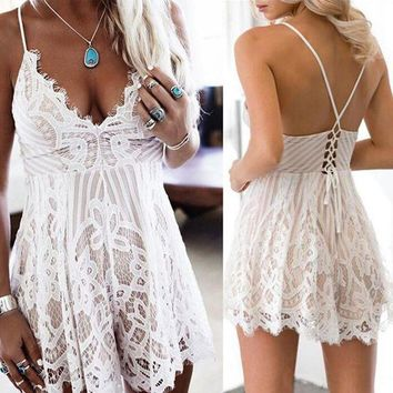 CREYCI7 New Summer Women Spaghetti Strap V-neck Backless Lace Floral Lace-up Beach Femme Outfit Lady Playsuit Romper Jumpsuit
