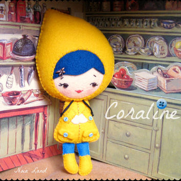 PDF. Coraline doll .Plush Doll Pattern, Softie Pattern, Soft felt Toy Pattern.