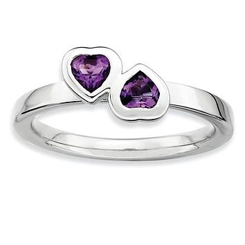 925 Sterling Silver Amethyst Twin Hearts Ring