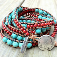 Southwestern Turquoise and Coral Beaded Leather Wrap Bracelet with sterling silver feather charm 5x, Native American bracelet,