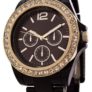 FMD Crystal accents Women's Fashion Watch by Fossil - Black Color