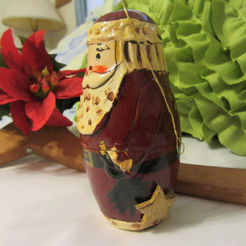 Unique Vintage Old World Hand Painted Santa Ornament - Great Gift Idea or For the Santa Collector or an Addition to Your Holiday Decor