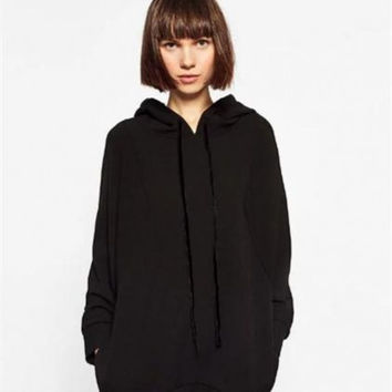 Hooded Collar Long Sleeve Stitching Sweatshirts