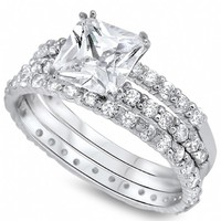 Valeria's Sterling Silver Princess Cut Triple Band Cubic Zirconia Wedding Ring Set