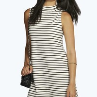 Emma Stripe High Neck A-Line Shift Dress