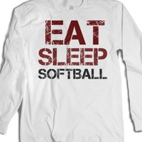 Eat Sleep Softball long sleeve tee t shirt-Unisex White T-Shirt