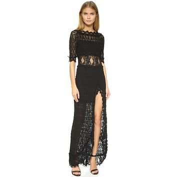 Nightcap Clothing Florence V Back Lace Gown Black