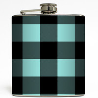 Tiff Blue & Black Buffalo Plaid - Girly Flask