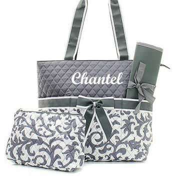 Monogrammed Grey and White Damask Diaper Bag  Monogrammed Diaper Bag  Diaper Bag for Girl